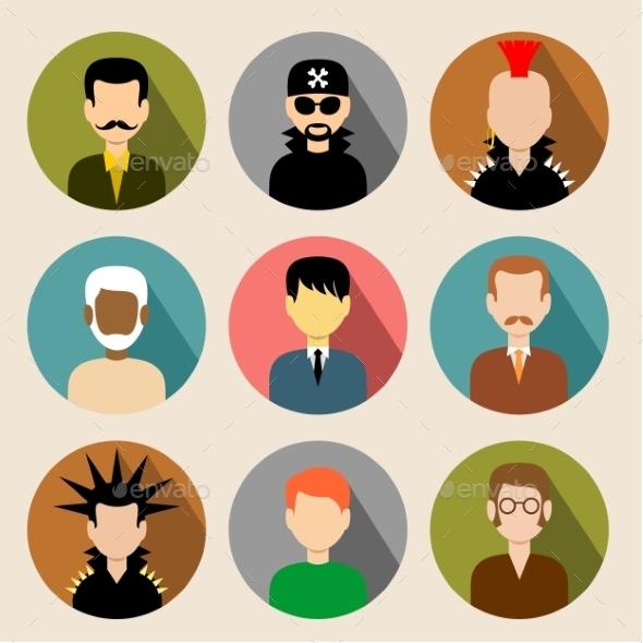 Set of Circle Flat Icons with Men - Conceptual Vectors