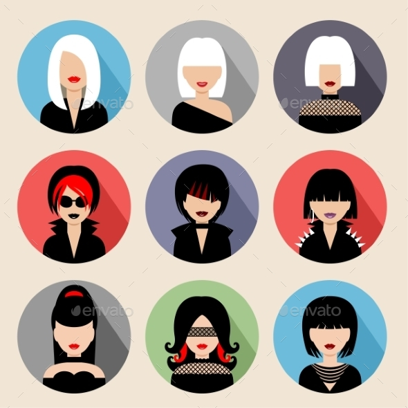 Set of Circle Flat Icons with Women - People Characters