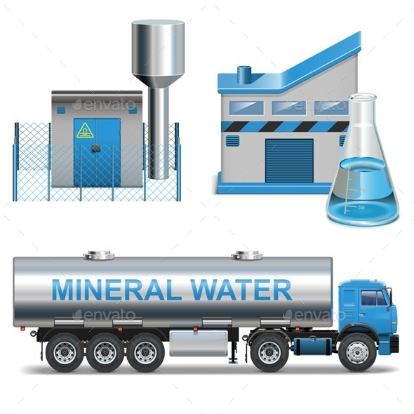 Vector Mineral Waters Production - Industries Business