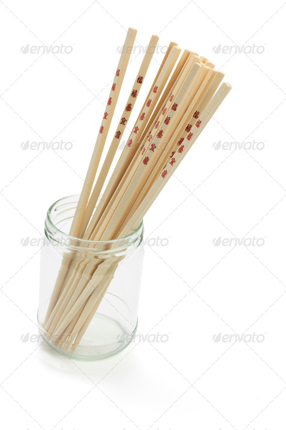 Chopsticks in Glass Jar - Stock Photo - Images