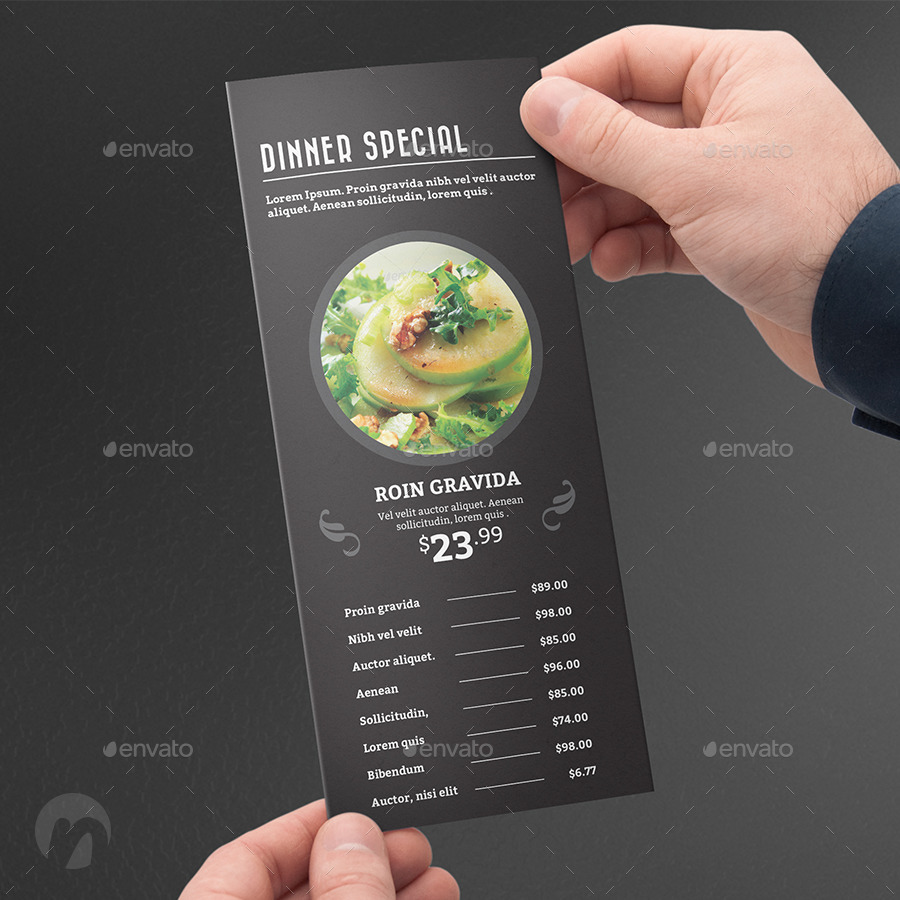 Restaurant Trifold Food Menu V3