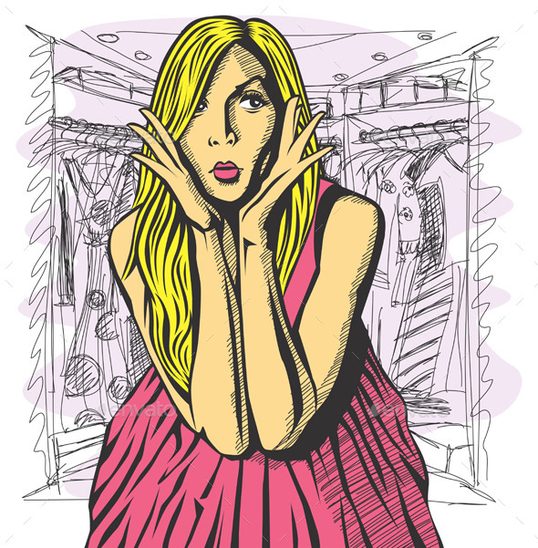 Vector Surprised Blonde in Pink Dress - People Characters
