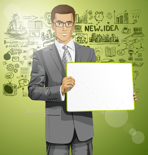 Vector Business Man with Empty Write Board - People Characters