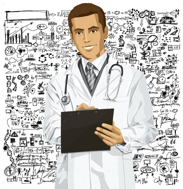Vector Doctor Man With Clipboard - Health/Medicine Conceptual