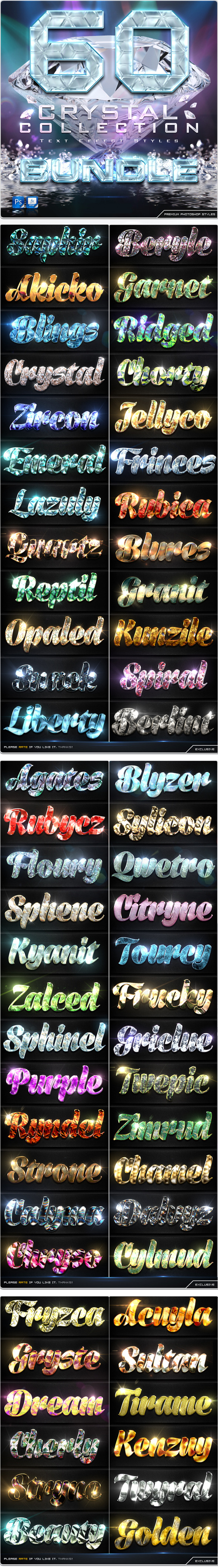 60 Crytal Collection Text Effect Styles Bundle - Text Effects Styles