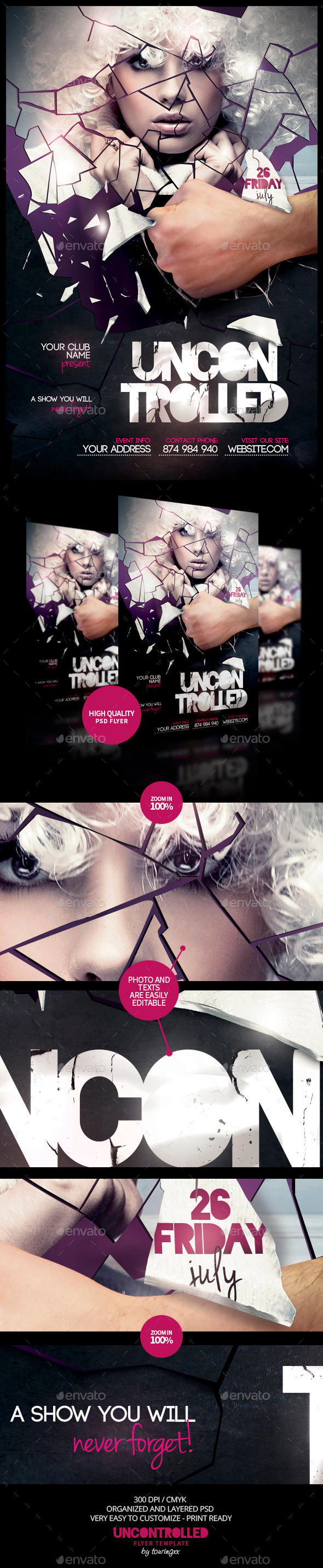 Uncontrolled Flyer Template - Flyers Print Templates