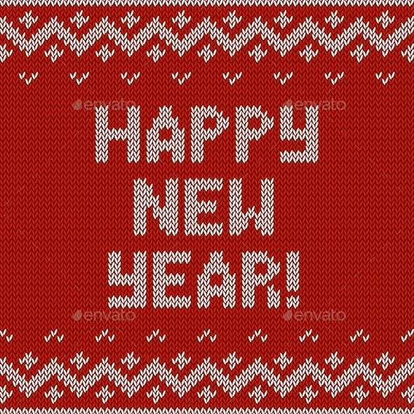 Card of Happy New Year 2015 with Knitted Texture - Christmas Seasons/Holidays