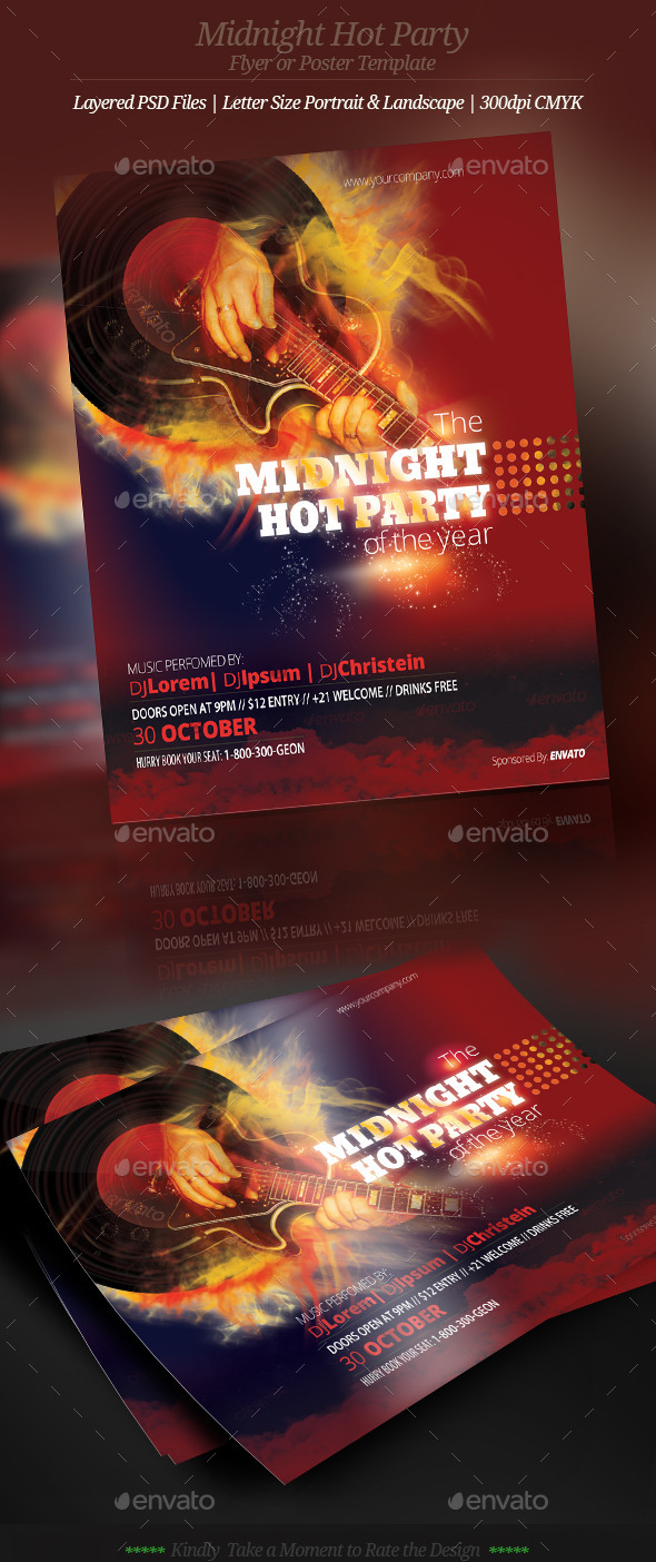 Music Midnight Hot Party Flyer or Poster - Clubs & Parties Events