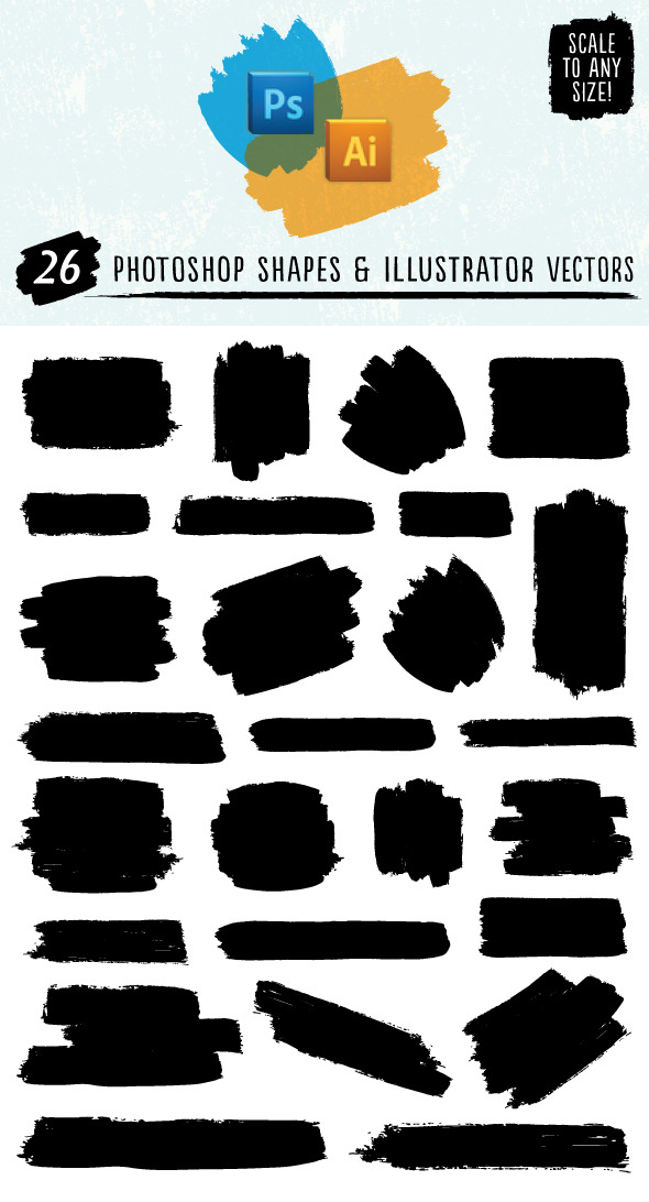Paint Stroke Shapes - Shapes Photoshop