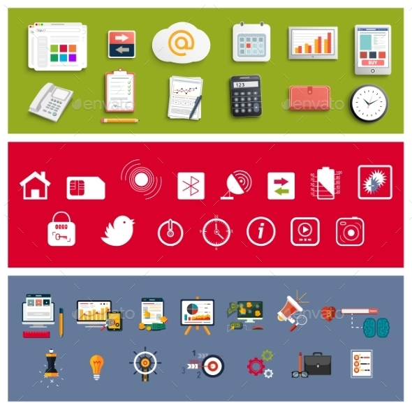 Set of Office and Business Work Elements - Technology Conceptual