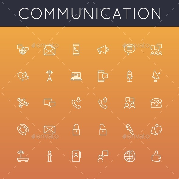 Vector Communication Line Icons - Media Icons