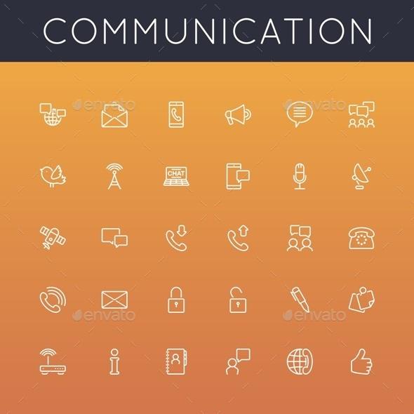 Communication Line Icons - Media Technology
