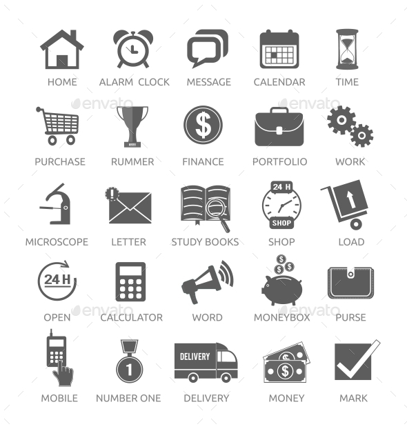 Icons for Web and Mobile Applications - Concepts Business
