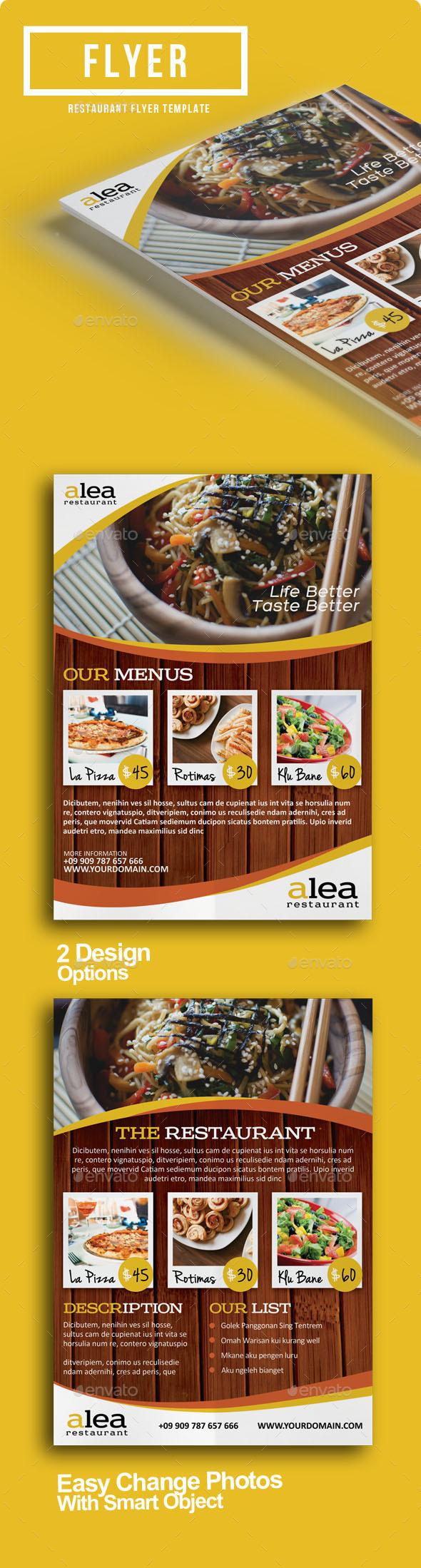 Alea Restaurant Flyer - Restaurant Flyers