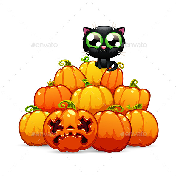 Heap of Halloween Pumpkins with a Black Cat - Halloween Seasons/Holidays