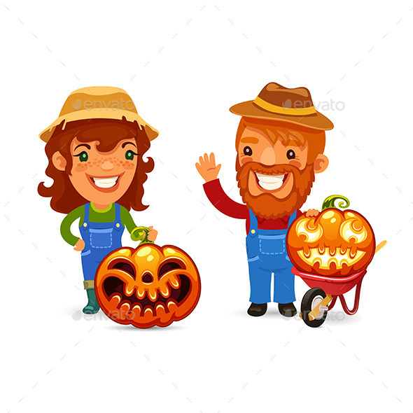 Farmers with Halloween Pumpkins - People Characters