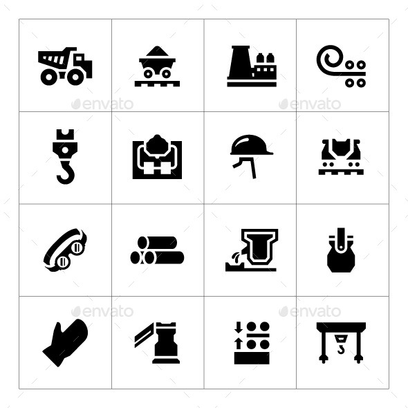 Set Icons of Metallurgy - Man-made objects Objects