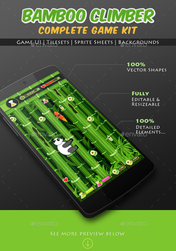 Bamboo Climber Panda Game Kit - Game Kits Game Assets