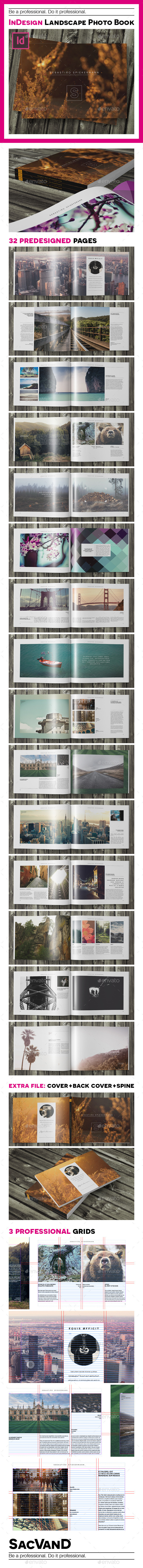 Indesign landscape photo book template - Photo Albums Print Templates