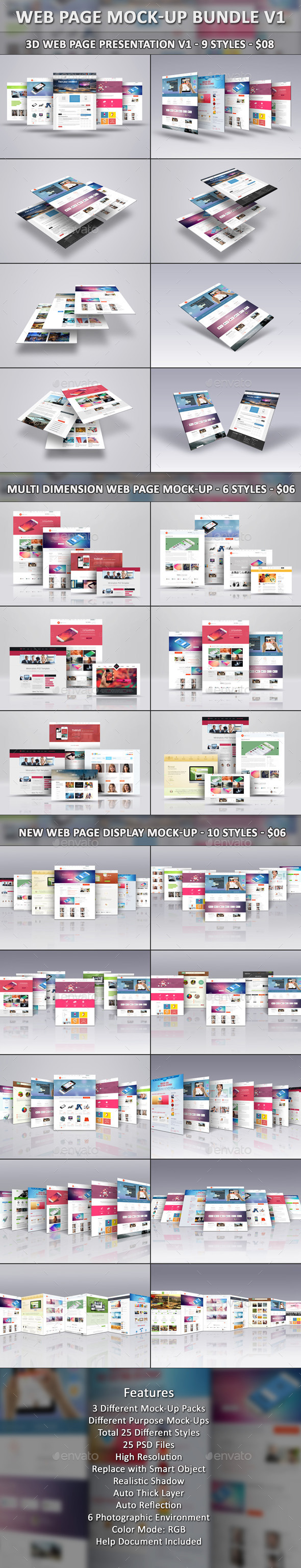 Web Page Mock-Up Bundle V1 - Website Displays
