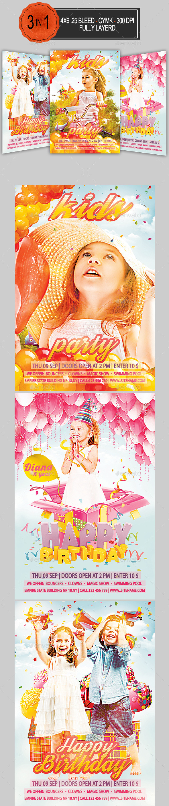 3 in 1 Kids Party Flyer Bundle   - Clubs & Parties Events