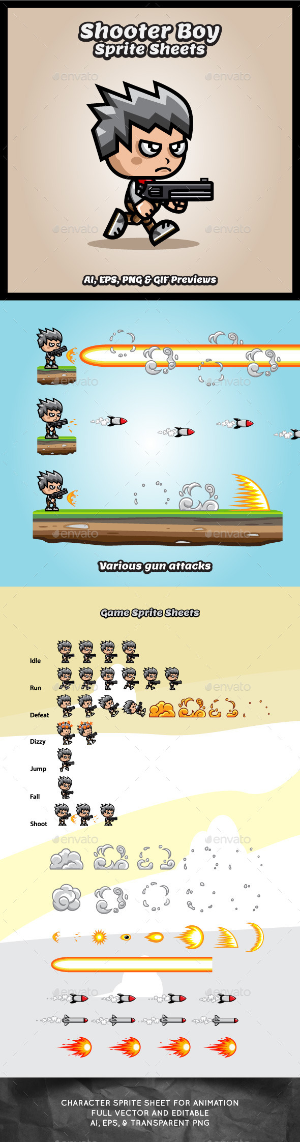 Shooter Boy Game Character Sprite Sheets - Sprites Game Assets