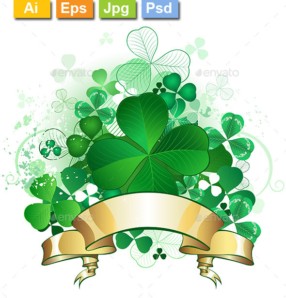 Clover with Banner - Decorative Vectors