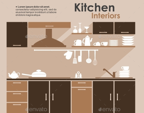 Kitchen Interior Flat Infographic - Miscellaneous Vectors