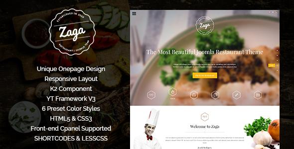 Zaga – Responsive Onepage Restaurant Template