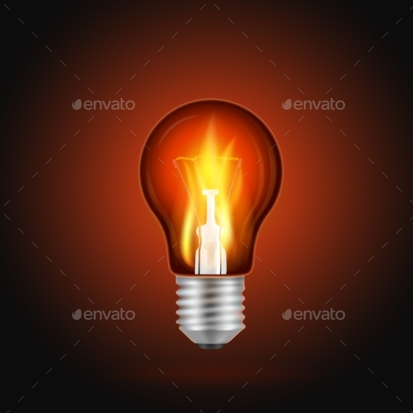 Fire in Light Bulb - Objects Vectors