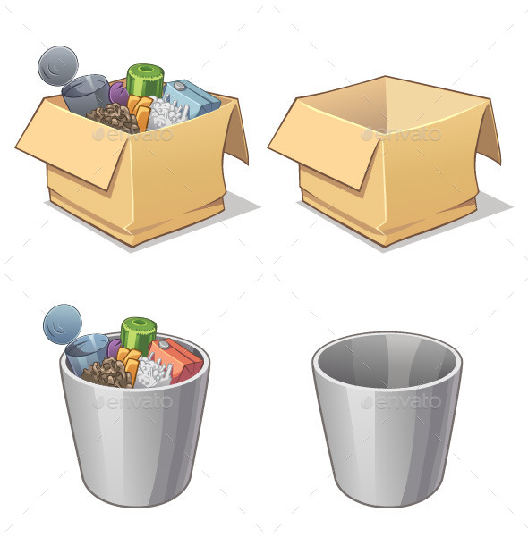 Box and Bin with Garbage - Man-made Objects Objects