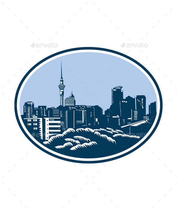 Auckland City Skyline Woodcut Retro - Buildings Objects