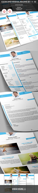 Clean and Minimal Resume Set V-02 - Resumes Stationery