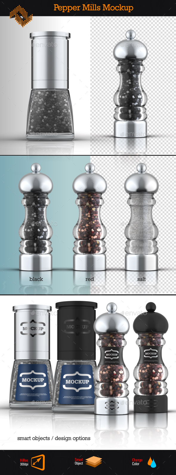 Salt & Pepper Mills Mockup - Food and Drink Packaging