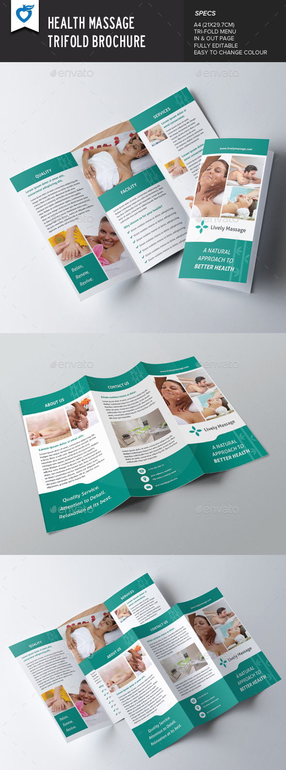 Health Massage Trifold Brochure - Corporate Brochures