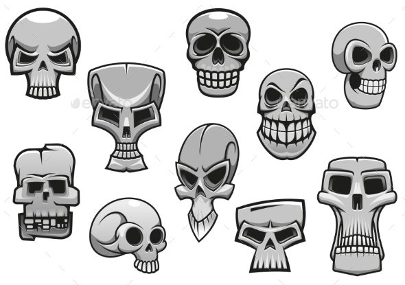 Cartoon Human Scary Halloween Skulls - Halloween Seasons/Holidays