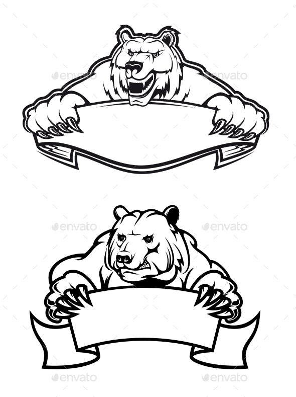 Angry Bears Mascots with Banners - Animals Characters