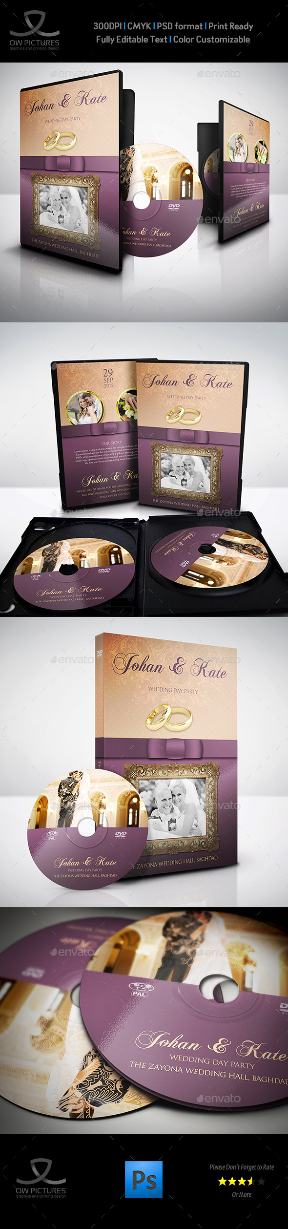 Wedding DVD Cover and DVD Label Template - CD & DVD Artwork Print Templates