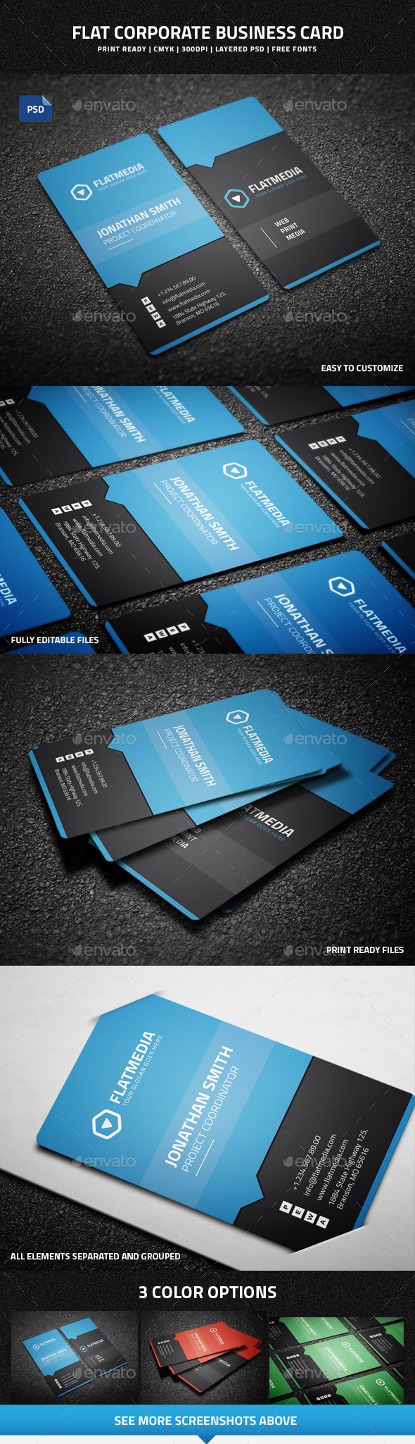 Flat Corporate Business Card - 47 - Corporate Business Cards