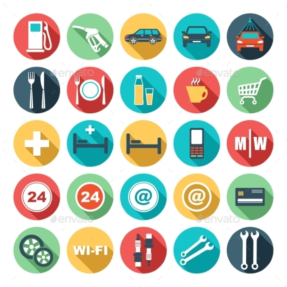 Flat Icons of Gas Station - Business Conceptual