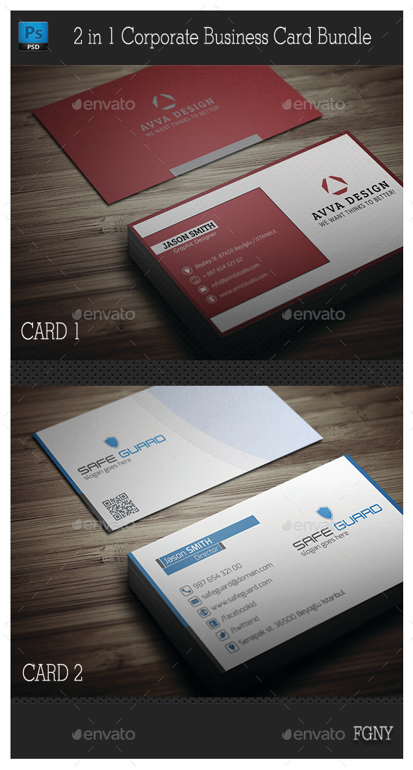 2in1 Corporate Business Card Bundle - Corporate Business Cards