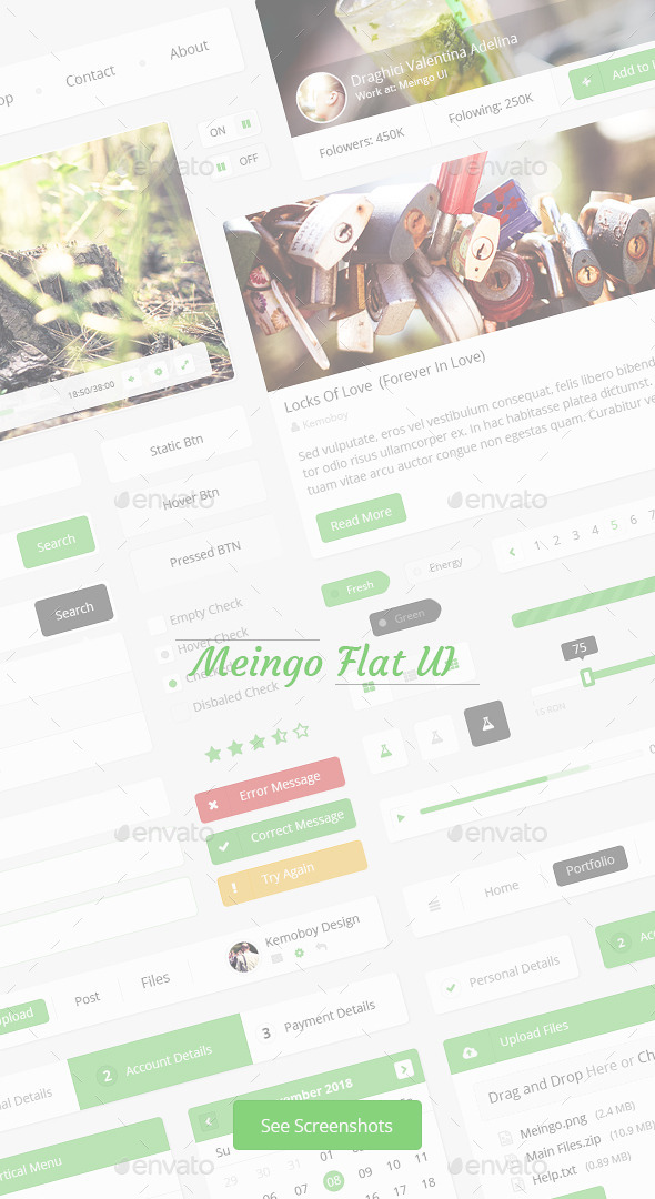 Meingo-Fresh Flat User Interface - User Interfaces Web Elements