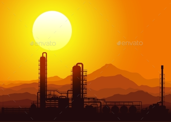 Oil Refinery at Sunset. Vector Illustration.  - Industries Business