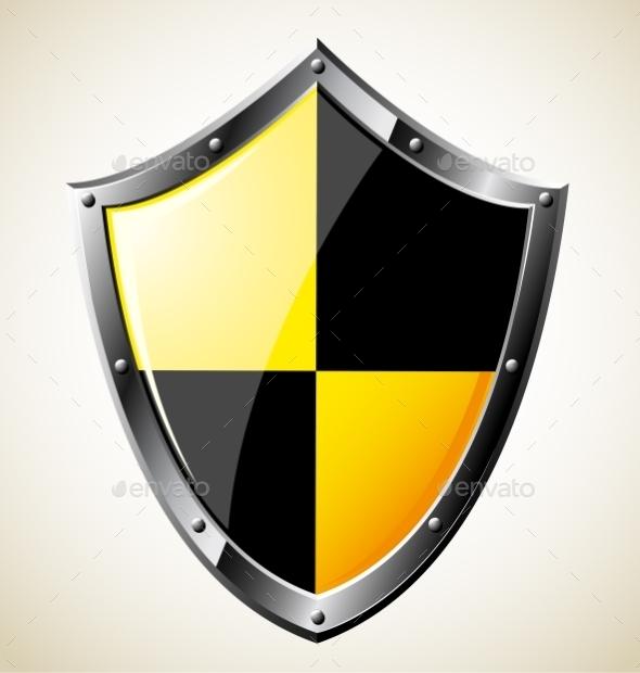 Steel Glossy Shield - Objects Vectors