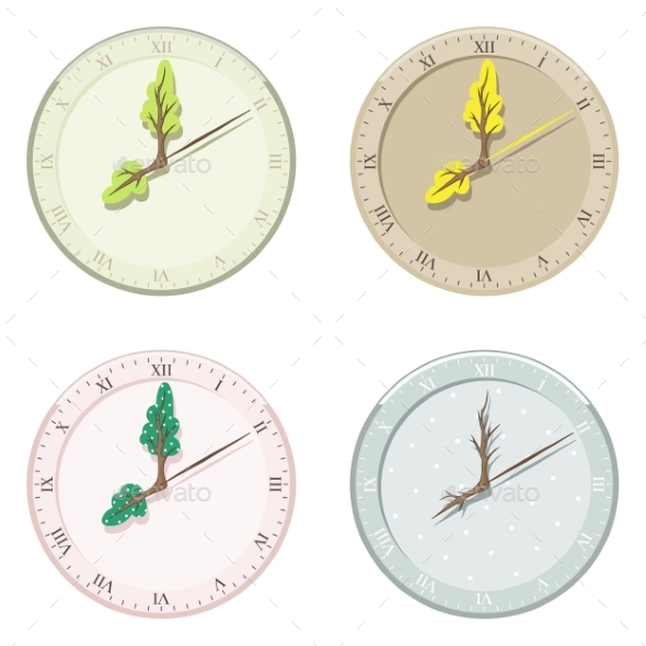Set of Seasonal Clock Summer, Autumn, Winter and Spring - Seasons Nature