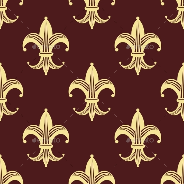 seamless background pattern of yellow fleur de lys by vectortradition