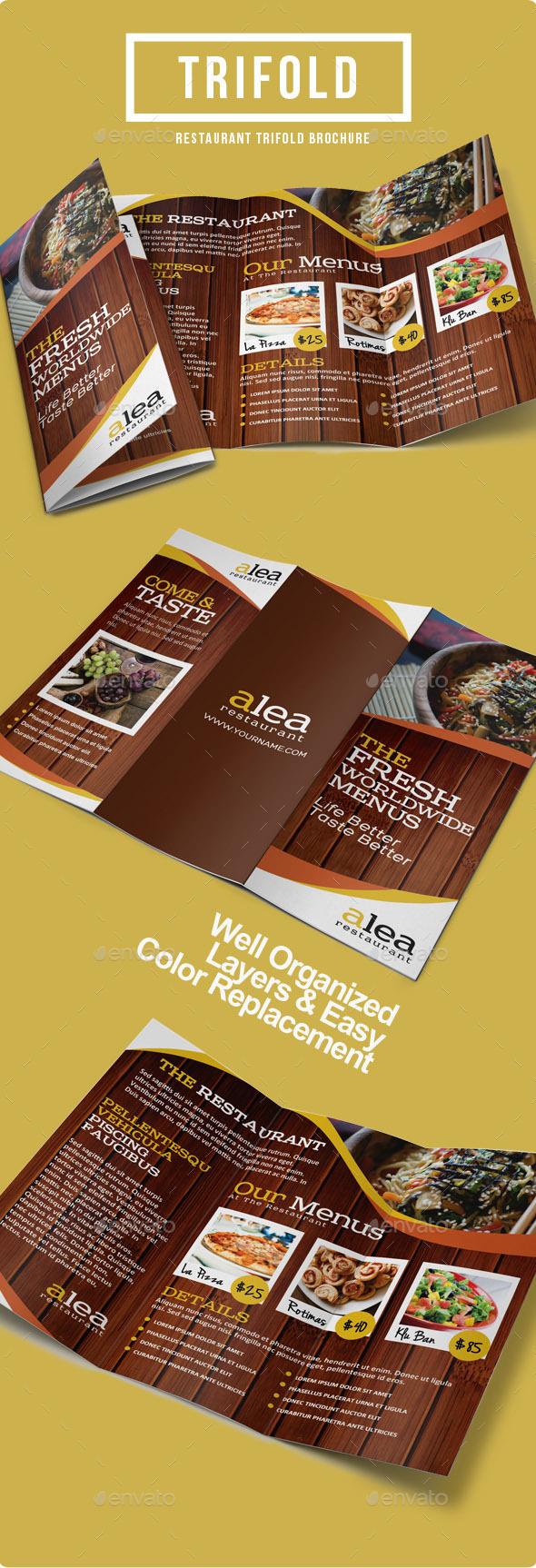 Alea Restaurant Trifold Brochure - Informational Brochures