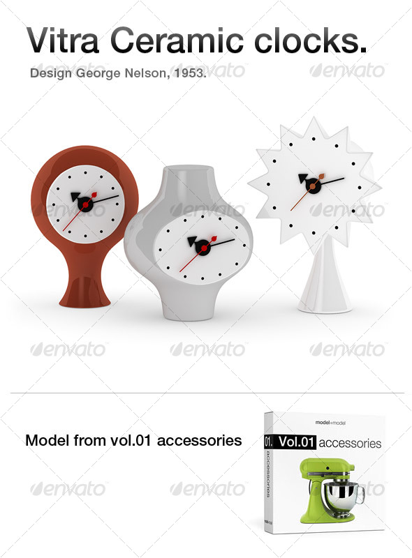 Vitra Ceramic clocks - 3DOcean Item for Sale
