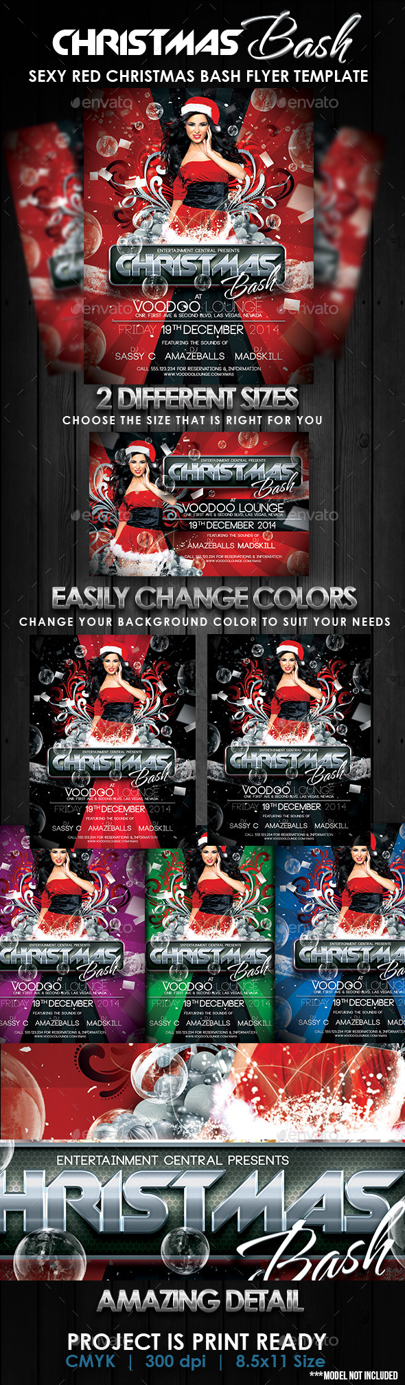 Sexy Red Christmas Bash Flyer Template - Clubs & Parties Events