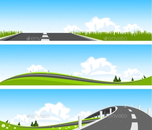 Way through nature. Vector - Landscapes Nature